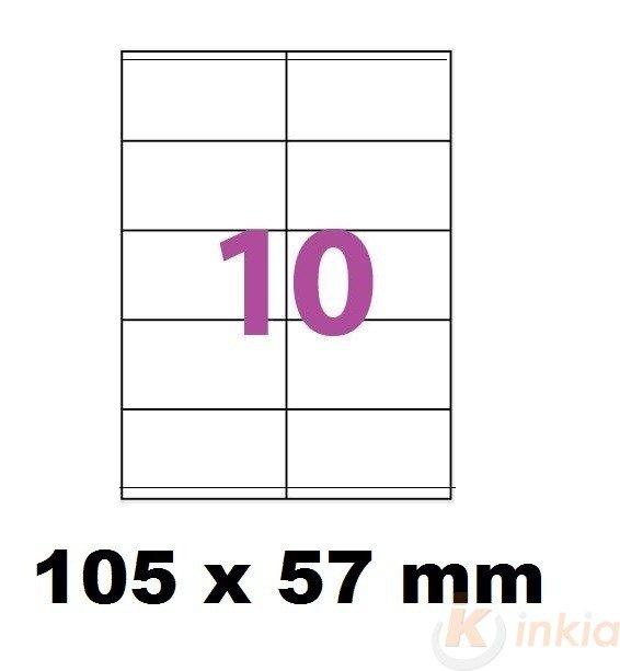 Etiquettes Adhésives Autocollantes 10 par page - 100 pages A4